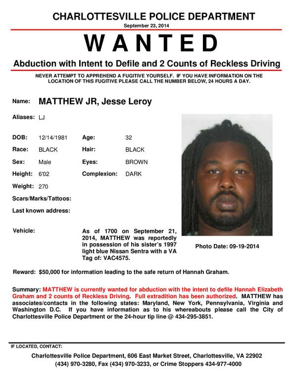 Jesse Matthew now wanted for abduction with intent to defile in Hannah Graham case