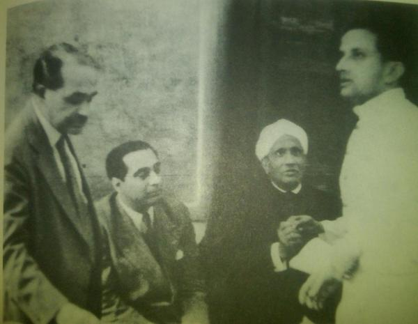 The scientific brain trust of newly independent India: MeghnadSaha, HomiBhabha, CVRaman & a very young VikramSarabhai http://t.co/J402luIt6u