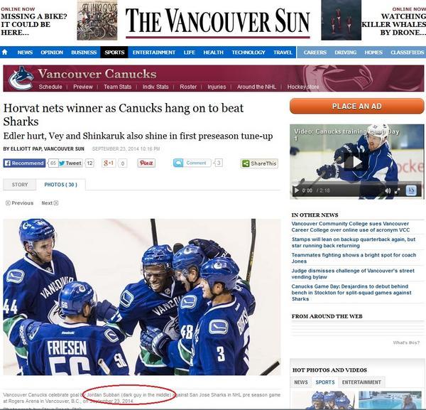 Thumbnail for Vancouver Sun's Jordan Subban photo caption sparks outrage