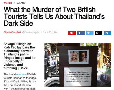 นิตยสารไทม์ตีแผ่กรณีฆาตกรรมนักท่องเที่ยวเกาะเต่าเผย 'ด้านมืด' ของสยามเมืองยิ้ม http://t.co/ilb24i9d5J http://t.co/y5DjSvAAVs
