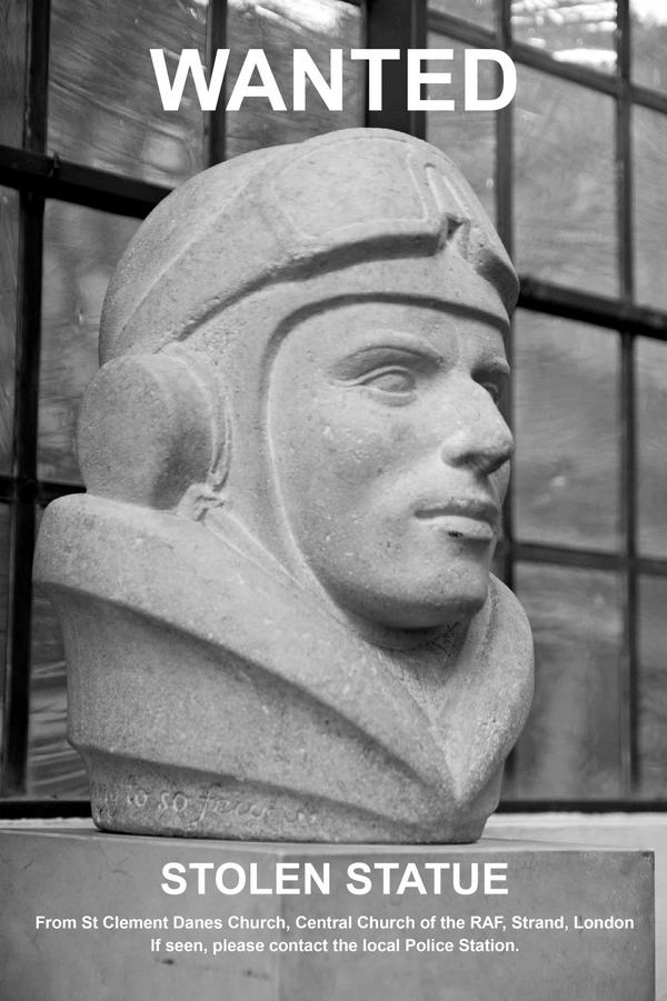 A statue has been stolen from the RAF Church, St Clement Danes, in London. Do you know where it is, can you help? http://t.co/vIJ2u3wzg4