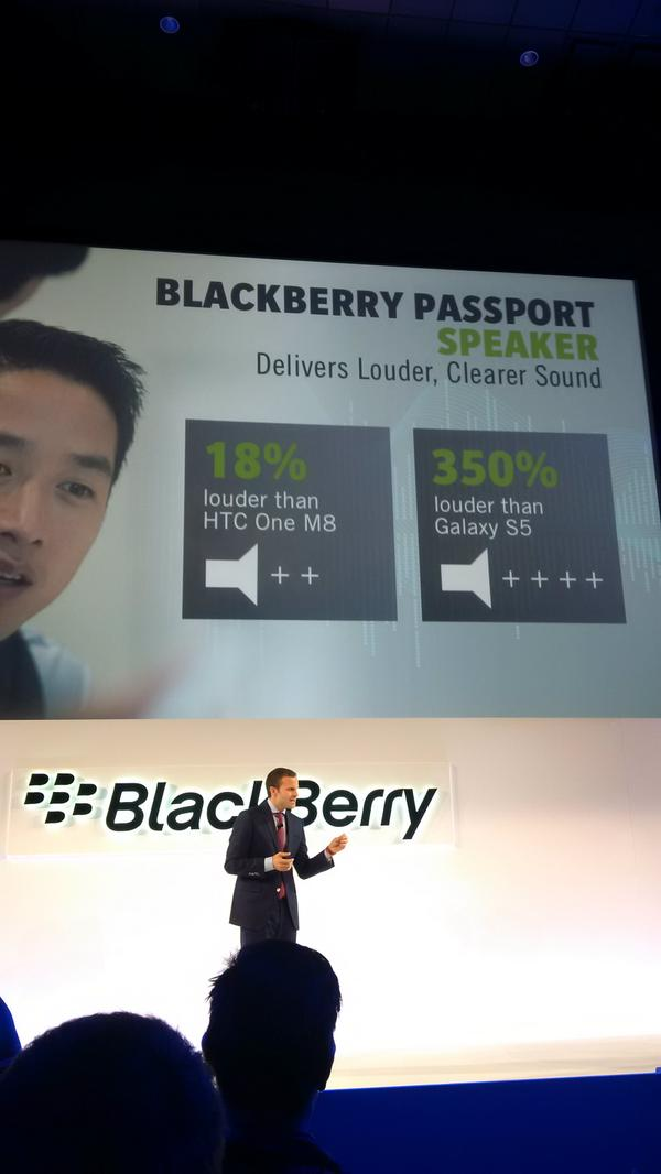 18% louder than the m8? How's that for stomping a phone built on loudspeaker quality @BlackBerry #passport http://t.co/xCnbMoIzUv