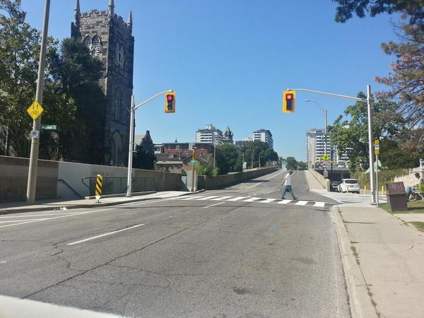 New crosswalk on Hunter at MacNab (RTH file photo)