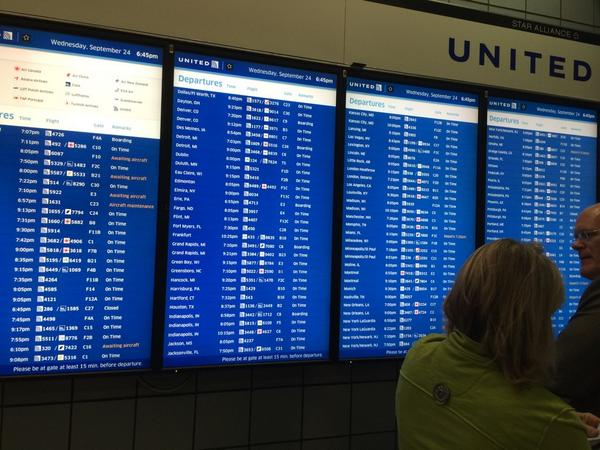 "Really @united ?...10+ of your departures say ""awaiting aircraft"" ""aircraft maintenance"" ""delayed"" or ""canceled."" http://t.co/bcB8Ko9oDN"