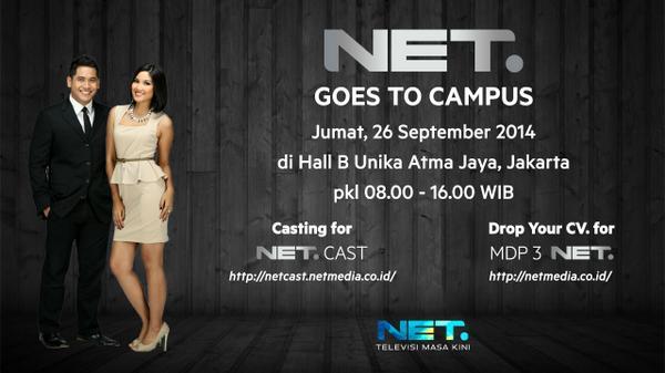 NET Goes to Campus! Jumat, 26 September 2014 di Hall B Unika Atma Jaya, Jakarta pkl 08.00-16.00 WIB #NETGoesToCampus http://t.co/21IEAAi7qu