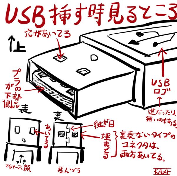 USB挿すとき二回やって挿せないやつはこれ見ろ! pic.twitter.com/VOR4ZLCXud