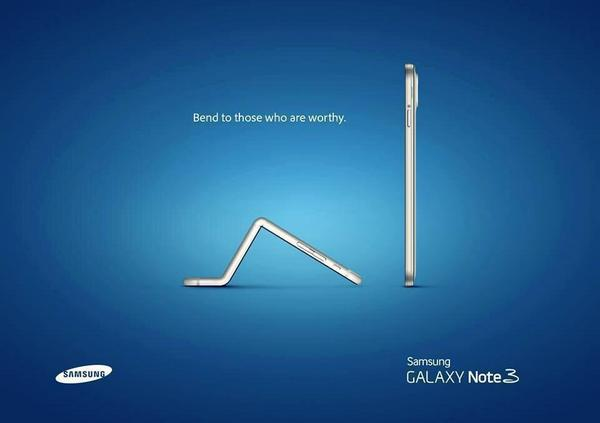 Samsung react to #BendGate on #iPhone6plus #advertising http://t.co/KnHkyU6HO3