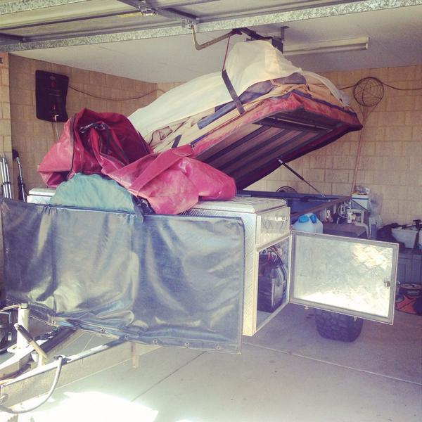 Jason packing the campertrailer for his trip east to Bilbunya Dunes. #campertrailer #packing #trip #BilbunyaDunes
