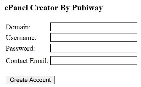 Script PHP cPanel Creator