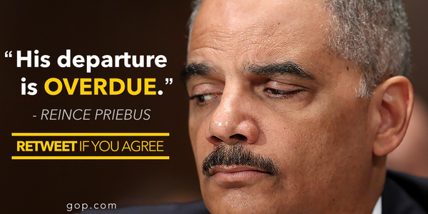Retweet if you agree: Eric Holder's departure is well overdue. http://t.co/WUQ7v7r6Ue