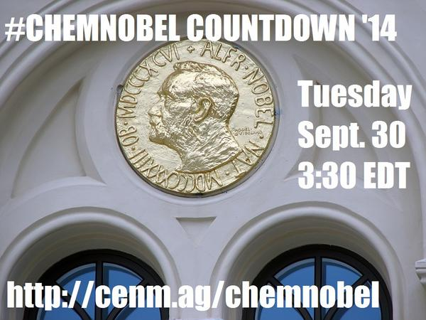 Who will win the chemistry Nobel Prize? Join the #chemnobel #GoogleHangout this Tuesday! http://t.co/YpEJ5sWYiG http://t.co/ofAcVNR463