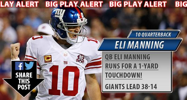 The #Giants take a 38-14 lead on Eli Manning's one-yard touchdown run! WOW! #NYGvsWAS #NFL http://t.co/VbCZiCrFsl