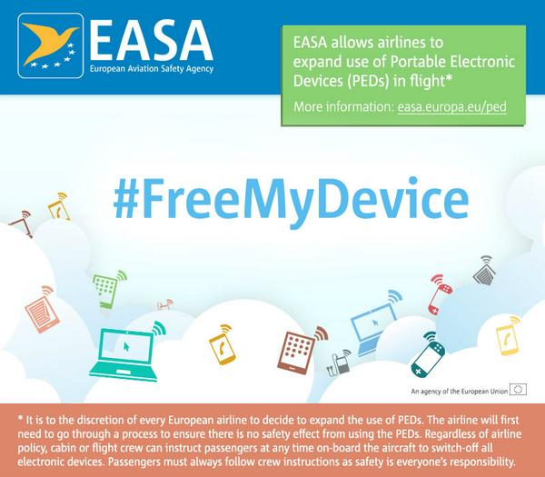 EASA allows electronic devices to remain On and Connected throughout the flight #freeMyDevice http://t.co/mFcUsNqcXI