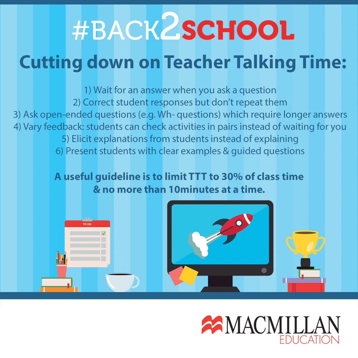 Reducing teacher talk time