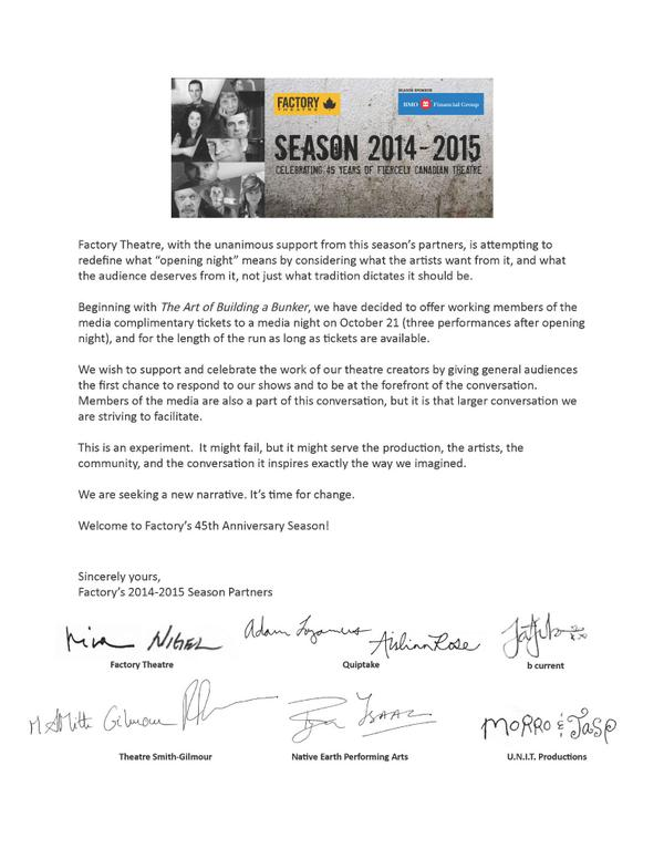 A statement from @FactoryToronto and our 14/15 season partners. #factory45 http://t.co/AbjRYiQYMb
