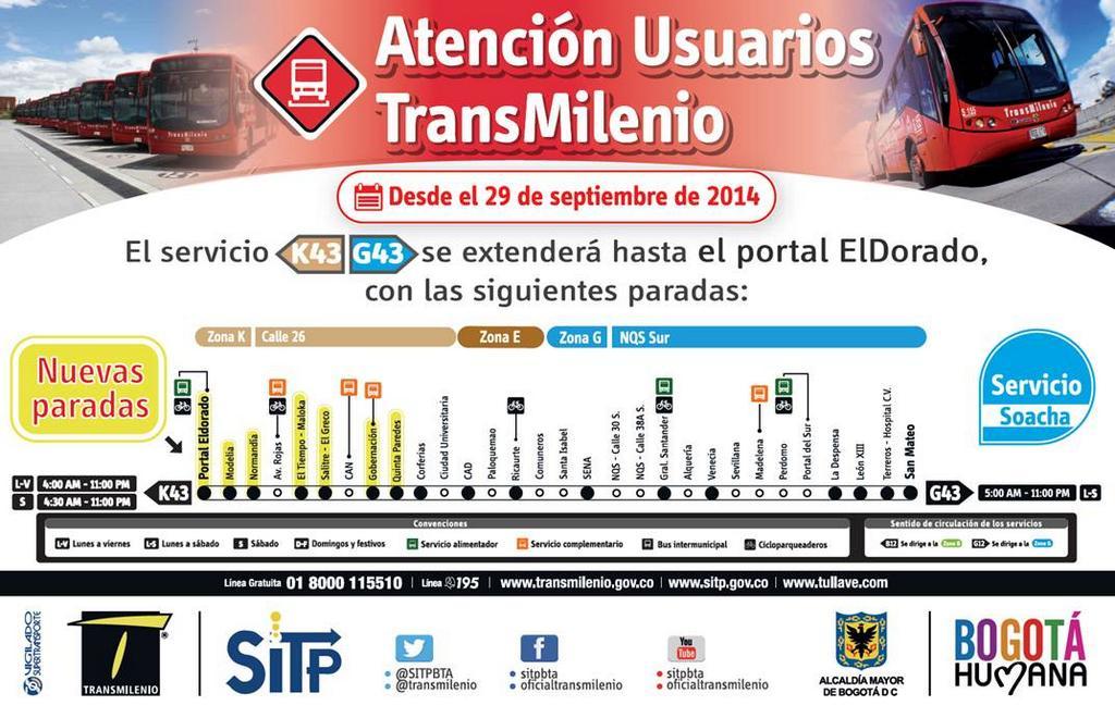 Transmilenio Twitterren Recuerda El Servicio G43 K43 Extendio Su Recorrido Hasta Portal Eldorado Http T Co Iijakk3zee Sectormovilidad