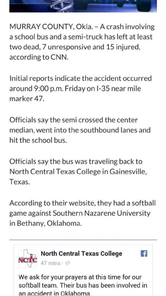 Please join me in praying for the North Central Texas College Softball Team, there were in a horrific accident...
