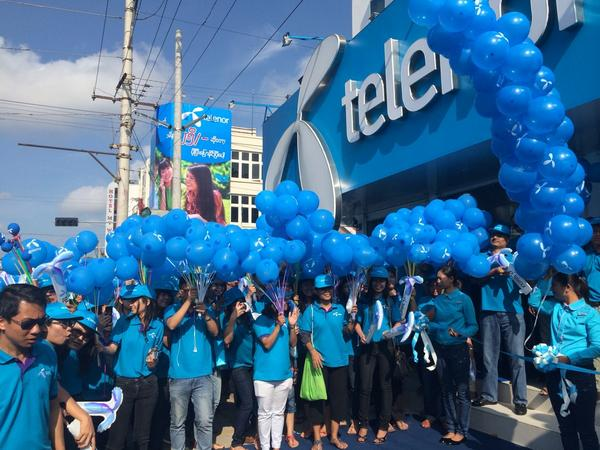"""Telenor Myanmar on Twitter: """"A very blue welcome at the official opening of  our first Telenor shop in Myanmar http://t.co/pKbYEii1Vh"""""""