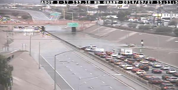 I-17 is closed at Buckeye Road due to flooding. Exit well ahead to avoid delays. #PhxTraffic http://t.co/zKPQq2WSHL