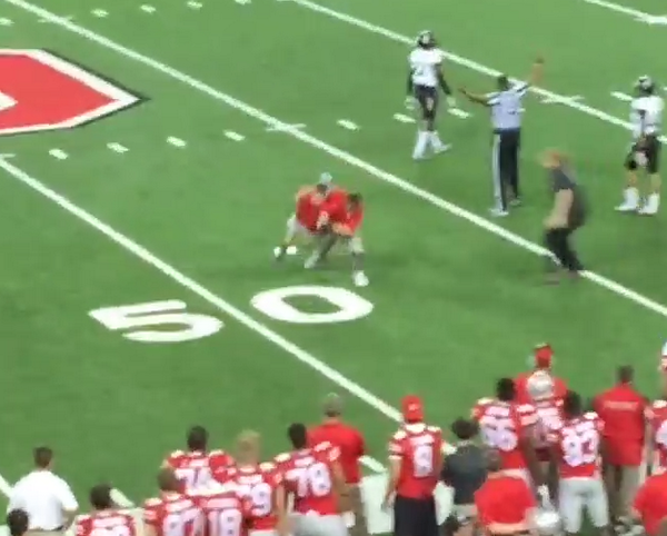 VIDEO: Ohio State's strength coach slams a fan who ran onto the field down to the turf http://t.co/LD5UfDnc9M http://t.co/68vEL9qE2G
