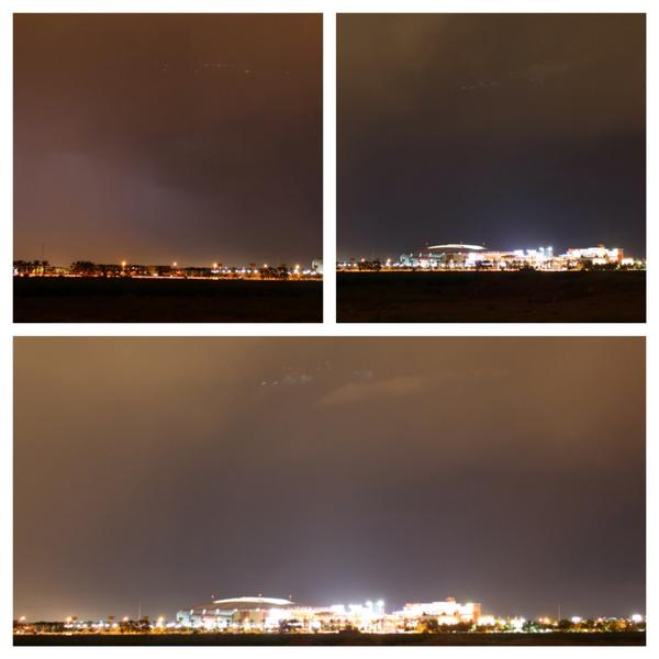 Possible UFO pics around 8 p.m. over  #Arizona Cardinals Stadium. Can it be? Pics by: Tisa Hunnewell #azwx http://t.co/7aYxN0dtsO
