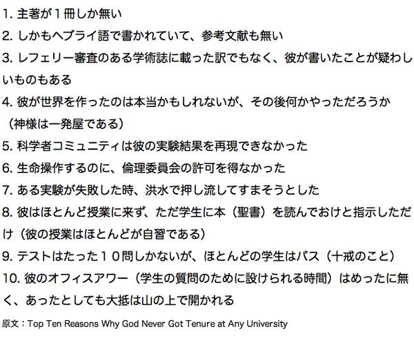 【一行読書猿】神様がどこの大学の教授にもなれない10の理由 http://t.co/hOElqWIIb3
