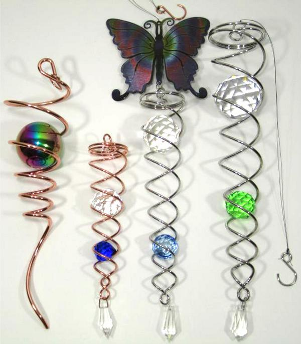 Electric 3 PIN UK Motor Wind Spinner Crystal Twister Spiral Tail Garden Indoor