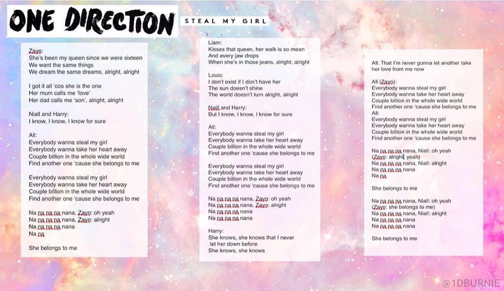 Quot lyrics to onedirection quot steal my girl quot http t co n0yzgndebc