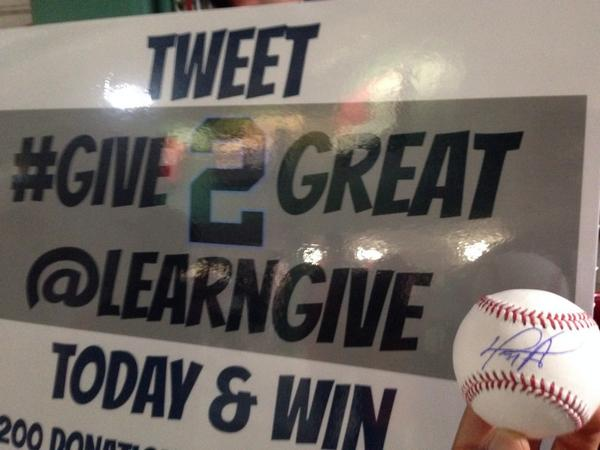 In honor of #2 anyone who tweets #Give2Great could win a $200 gift card, @davidortiz signed ball and more!! http://t.co/p2pWA5aXPe