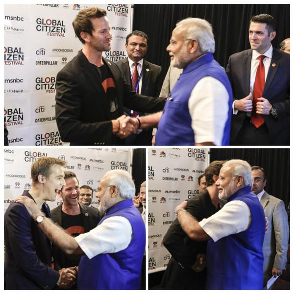 Great welcoming Prime Minister @narendramodi to #GlobalCitizenFestival with @TheGPP @GlblCtzn founder @Hughcevans http://t.co/658BCiIfWT
