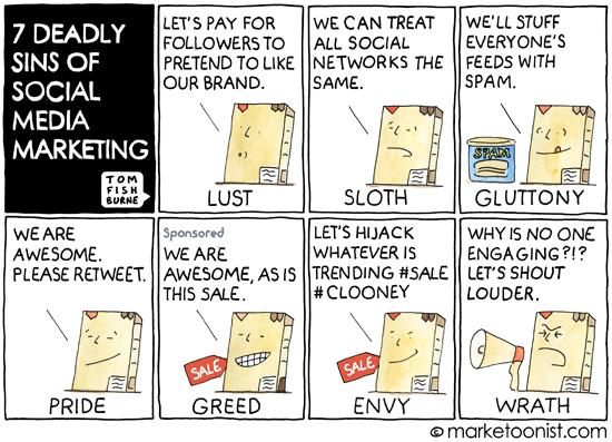"""""""7 Deadly Sins of Social Media Marketing"""" - new cartoon and post on lessons from Ello http://t.co/ASfEKTFanU http://t.co/xiHRCjE7s2"""