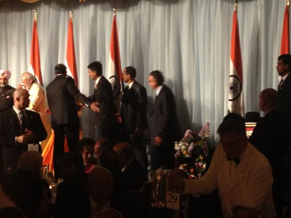 Gave Indian PM Modi a black Stetson Cowboy hat (lower right) w/ an invitation to come to Houston in 2015! http://t.co/3EQVl5XYY6