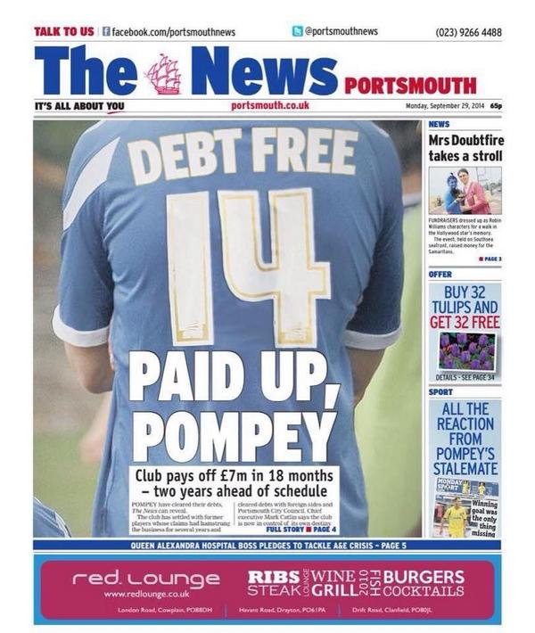 #Pompey have paid their debts off. All 24 ex-players and 4 foreign clubs among them. Will put up link when it works! http://t.co/6cGCPDuKOC