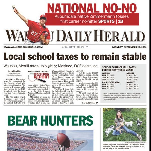 Jordan Zimmermann made it above the fold --& above the #Packers-- in his hometown paper in Wisconsin today. #NoHitter http://t.co/RZalaKYMQa
