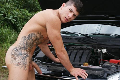 sexy guys in the car naked