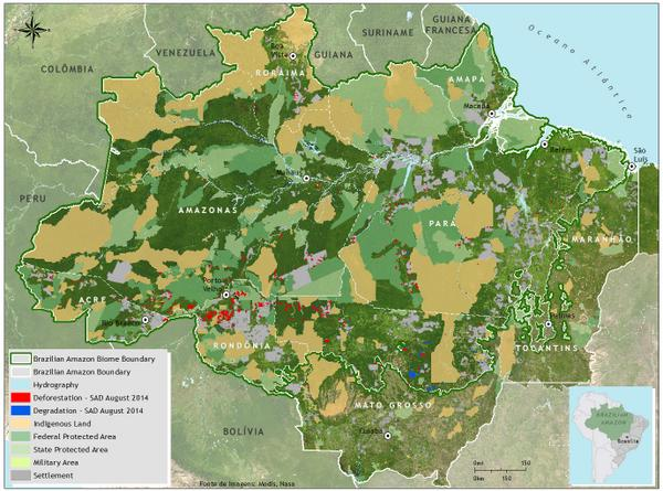 Check out the map: deforestation and forest degradation in August 2014 in the Brazilian Amazon http://t.co/NsoubroT5h