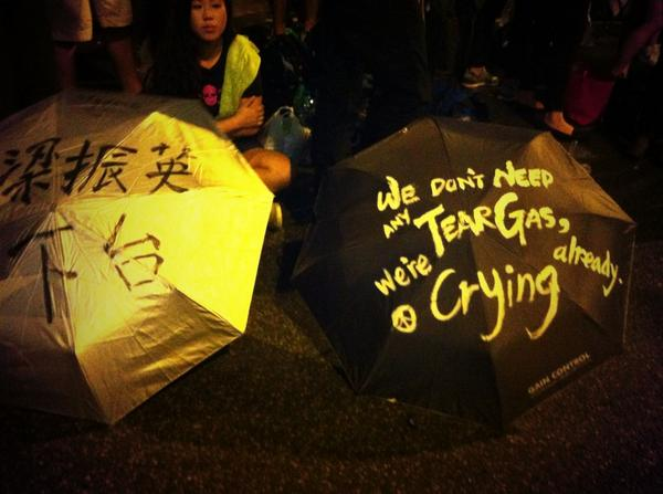 We don't need tear gas, we're crying already 我們不需要催淚彈,我們已經在哭了  #傘花革命 #OccupyCentral #UmbrellaMovement http://t.co/P8kfy0cODK