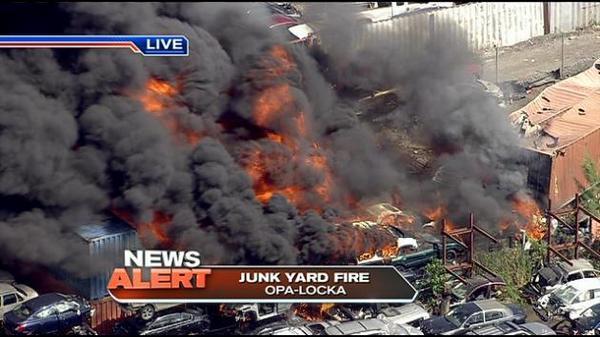 Opa Locka Junkyard >> @gabebernal_ this is a junk yard fire in Opa-Locka. http