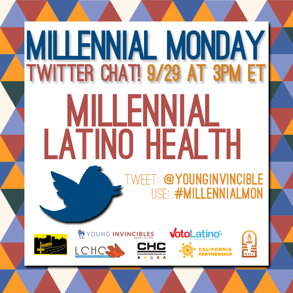 Join us and @YoungInvincible TODAY @ 3 ET for #MillennialMon: #Latinos and #healthcare! #HHM http://t.co/svEyHpKV5m