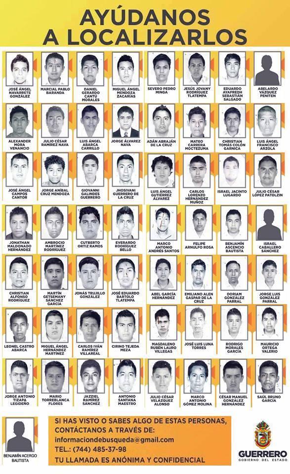 Sin noticias de los 57 estudiantes de la Escuela Normal de #Ayotzinapa, que se reportan como desaparecidos. http://t.co/xNl6PkByNm