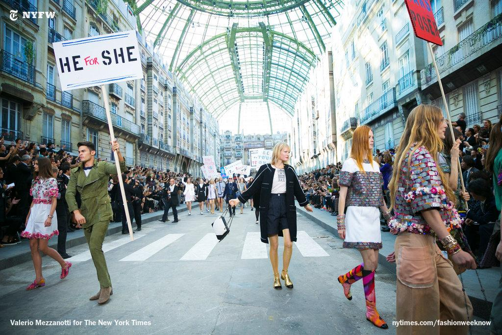 At Chanel, Baptiste carried a #HeForShe sign, part of @EmWatson 's gender-equality campaign. http://t.co/HYWuPzzGTI http://t.co/ZfYDnXPZM4