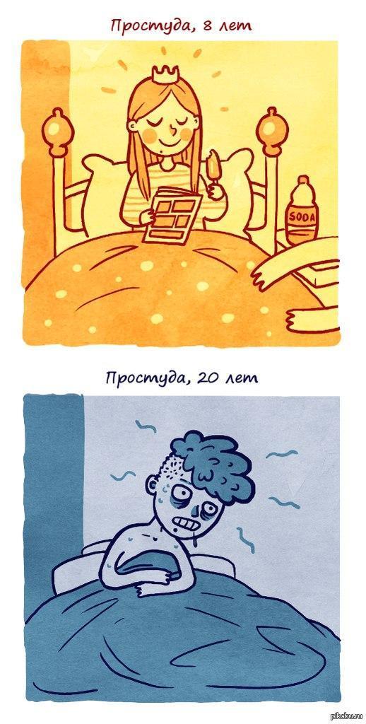 Тебя мамочка, веселые картинки о простуде