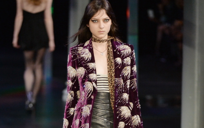 Rock chicks can like summer, too. Saint Laurent (@YSL) spring/summer 15: http://t.co/m4wG26tPsY  #PFW #SS15 http://t.co/wRCzP09jTh
