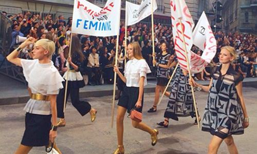 .@CHANEL staged a feminist protest today at #PFW: http://t.co/vPB9jwb8Cw http://t.co/N6uPYk4VKC