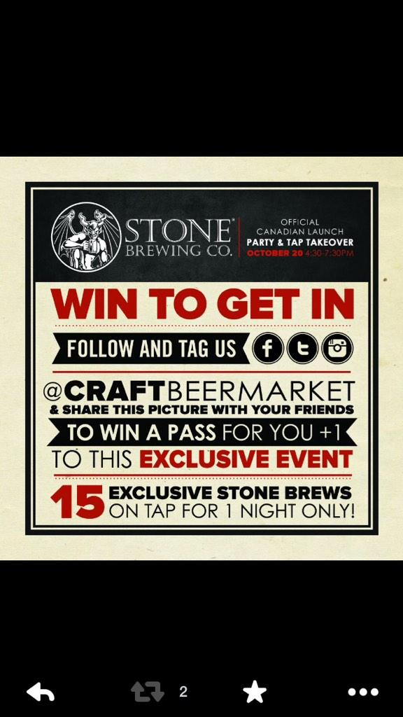 Win tickets to the Stone Brewing Co. Launch on October 20th: follow us and RT. Today's winner announced at 5pm http://t.co/cHjk5pAQ4N