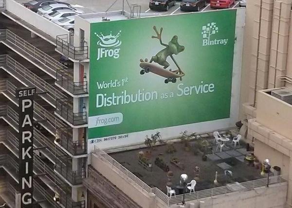 Woke up to a find this billboard show up outside our hotel room window. There's a new service in town! #bintray http://t.co/Ad7Nzjuql9