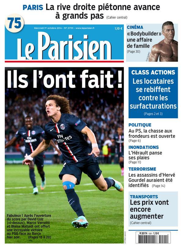 La une de votre journal le parisien demain ils l 39 ont fait psgbar p - Le journal de demain ...