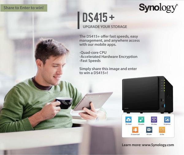 Upgrade Your Storage- Win a DS415+! Retweet the image below and enter to win. Winner will be randomly chosen on 10/6 http://t.co/7yShjXwD5g