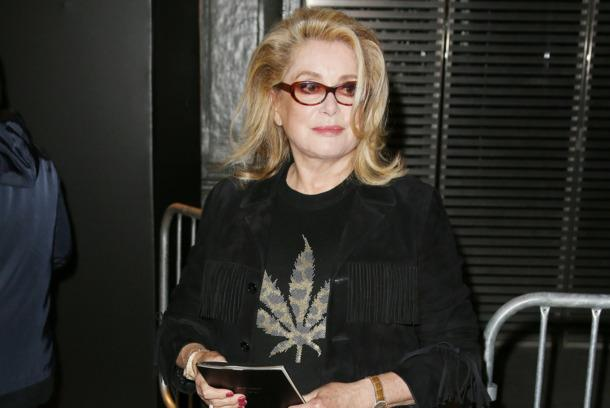 Here's Catherine Deneuve wearing a cannabis-leaf sweater: http://t.co/eSyXXMpXWl http://t.co/uDWuiHqiLe