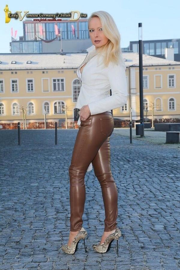 Leather mature pants milf